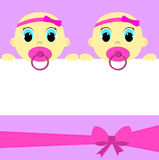 Baby girl twins announcement card Royalty Free Stock Photos