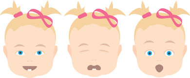 Baby girl with various face expressions Royalty Free Stock Image