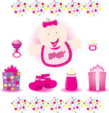 Baby Girl Vector. Cute baby girl shower elements Royalty Free Stock Photography