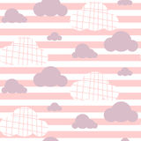 Baby girl vector seamless pattern. Light pink fun sky print for textile. Royalty Free Stock Image