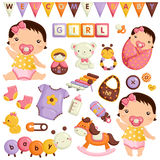 Baby Girl Vector Set Royalty Free Stock Photo