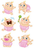 Baby girl vector set. Set of a baby girl in different emotions and situations Royalty Free Stock Photos