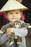 Baby girl in Vietnam's hat royalty free stock images