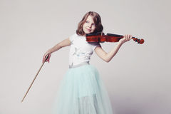 Baby girl with violin. On white background Royalty Free Stock Photo