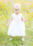 Baby girl walking in flowers Royalty Free Stock Photo