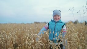 Baby girl walking in wheat field. Kid runs against the backdrop of beautiful mountains with snow capped peaks. Child stock footage