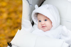 Baby girl in warm white jacket sitting in stroller. Adorable baby girl in a warm white jacket sitting in a stroller Stock Photography