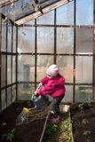 Baby girl watering from a watering can garden royalty free stock image