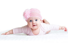 Baby girl weared in pink cap Stock Photo
