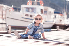Baby girl wearing denim clothes Royalty Free Stock Photography