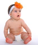 Baby Girl wearing diapers Royalty Free Stock Images