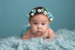Baby Girl Wearing a Floral Crown Royalty Free Stock Photos