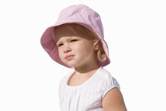 Baby girl wearing hat, cut out Royalty Free Stock Image