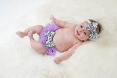 Baby Girl Wearing Purple Bloomers Royalty Free Stock Photography