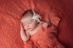Baby Girl Wearing a Rhinestone Flapper Headband stock photography