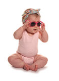Baby girl wearing vintage floral headband and sunglasses. Cutout Stock Photos