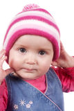 Baby girl wearing a winter hat Royalty Free Stock Images