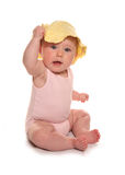 Baby girl wearing yellow sun hat. Cutout Royalty Free Stock Photo