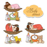 Baby girl on on weighing scale, items set Stock Photo
