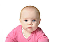 Baby girl on white background Stock Photo