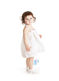 Baby girl in a white dress Royalty Free Stock Image