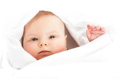 Baby girl in white Stock Photo
