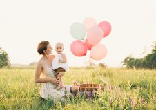 Mother and baby outdoors. Family on nature royalty free stock photos