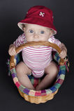 Baby Girl in a Wicker Basket. Baby girl sitting in a wicker basket Royalty Free Stock Photography