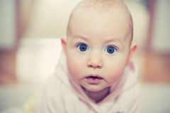 Baby girl with wide eyes. Sweet baby watching with interest and surprise Stock Photography