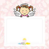 Baby girl with wings. Blank space for photo or text Stock Photos