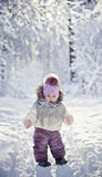 Baby girl at winter Stock Photos