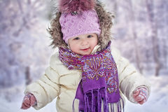 Baby girl at winter Stock Photo