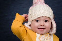 Baby Girl with Winter Hat Stock Images