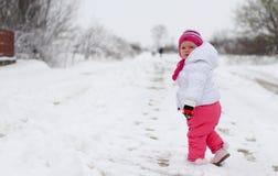 Baby girl in wintertime Stock Photo