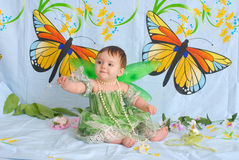 Free Baby Girl With Butterfly Wings Stock Photography - 5426062