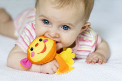 Baby Girl With Monkey Royalty Free Stock Photo