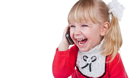 Baby Girl With Phone Stock Image