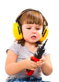 Baby girl with working tool Stock Image