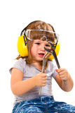 Baby girl with working tool Royalty Free Stock Images