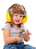 Baby girl with working tool Royalty Free Stock Photography