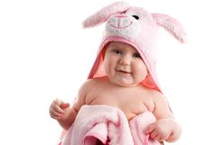 Baby Girl Wrapped in Pink Tow Stock Photo