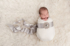 Baby Girl Wrapped in a Silk Ribbon Stock Image
