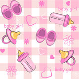 Baby girl wrapping and background. Baby icon seamless texture Stock Photography