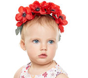 Baby girl in wreath Royalty Free Stock Photos