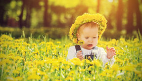 Baby girl in wreath on  meadow yellow flowers Stock Photos