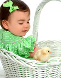 Baby Girl and Yellow Chicken Stock Photos