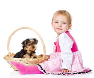 Baby Girl and Yorkshire Terrier puppy.  on white Royalty Free Stock Images
