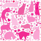 Baby girls background with cats Royalty Free Stock Photography