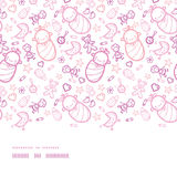 Baby girls horizontal border seamless pattern background Stock Photos