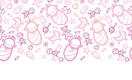 Baby girls horizontal border seamless pattern background Stock Images
